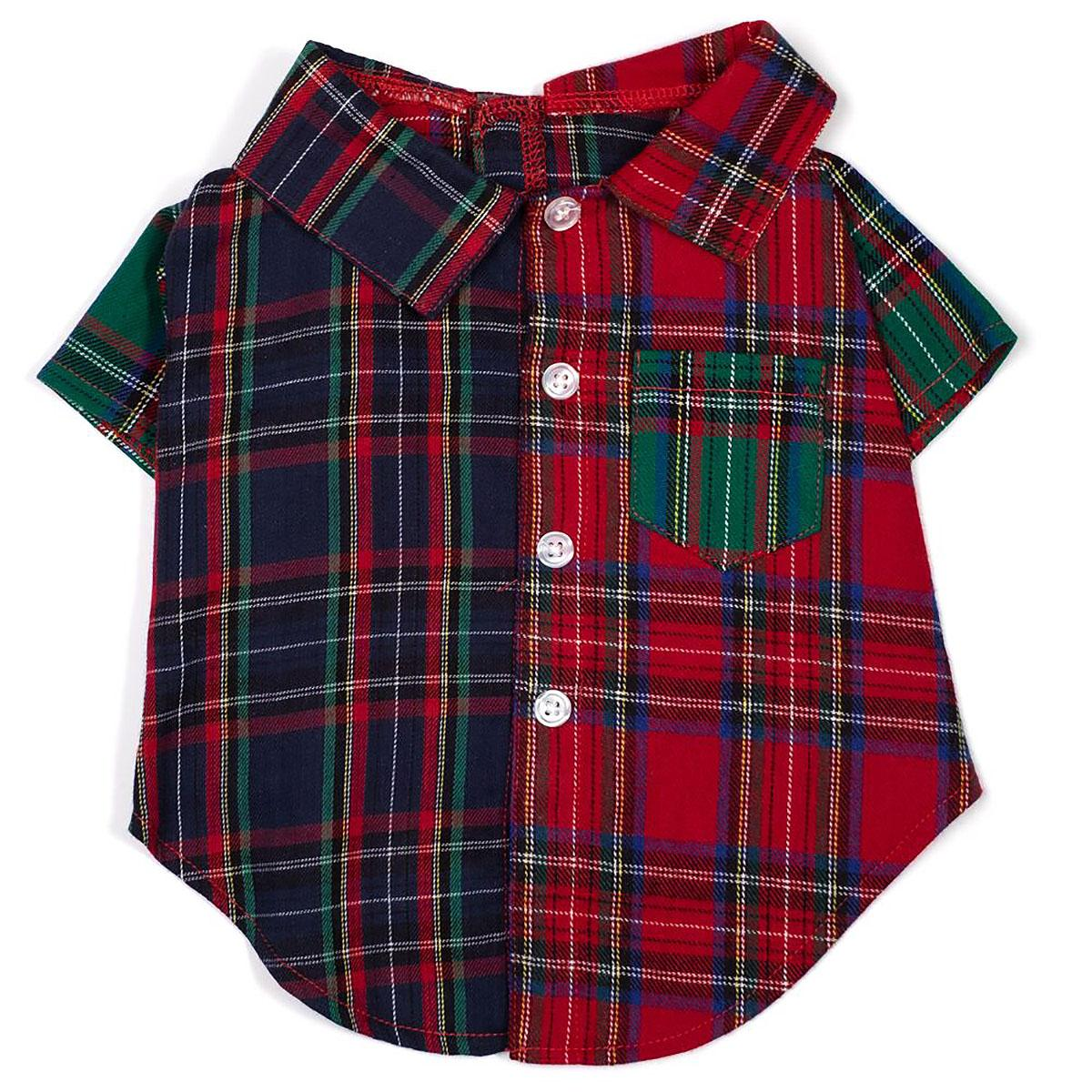Worthy Dog Colorblock Tartan Flannel Dog Shirt