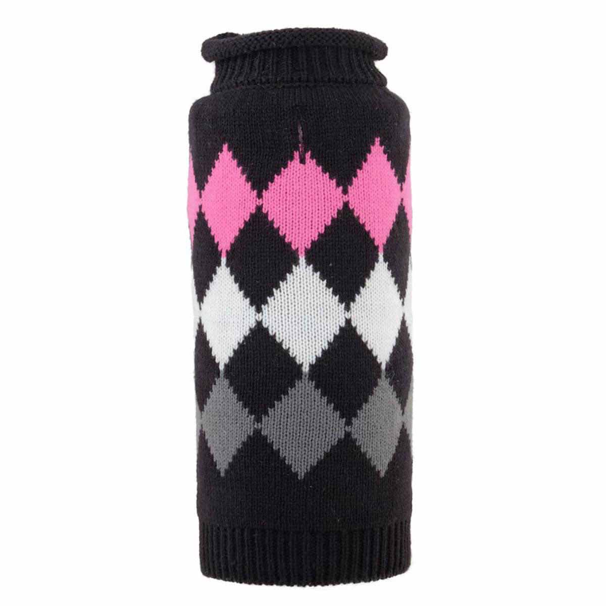 Worthy Dog Modern Argyle Dog Sweater - Black