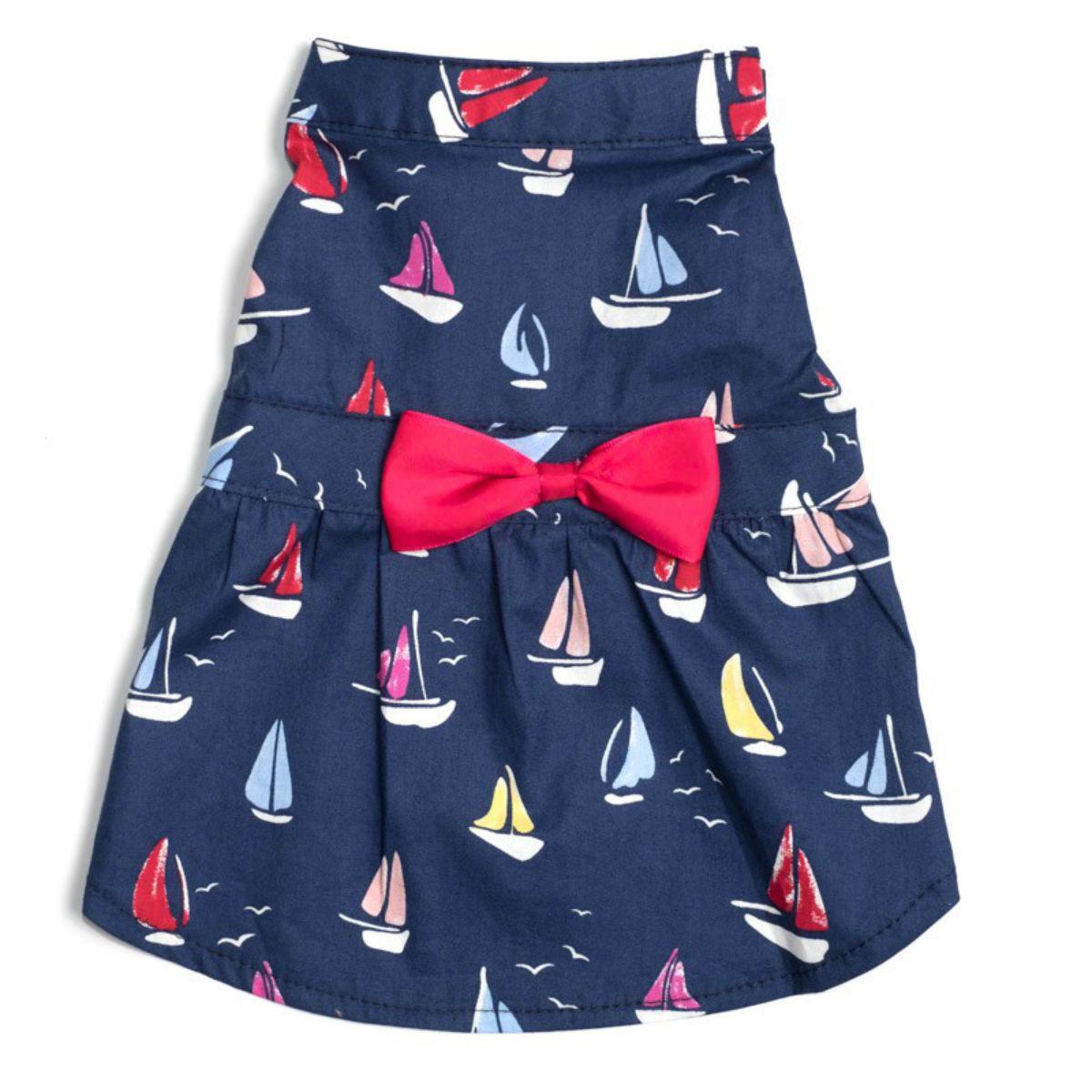 Worthy Dog Navy Sailboats Dog Dress