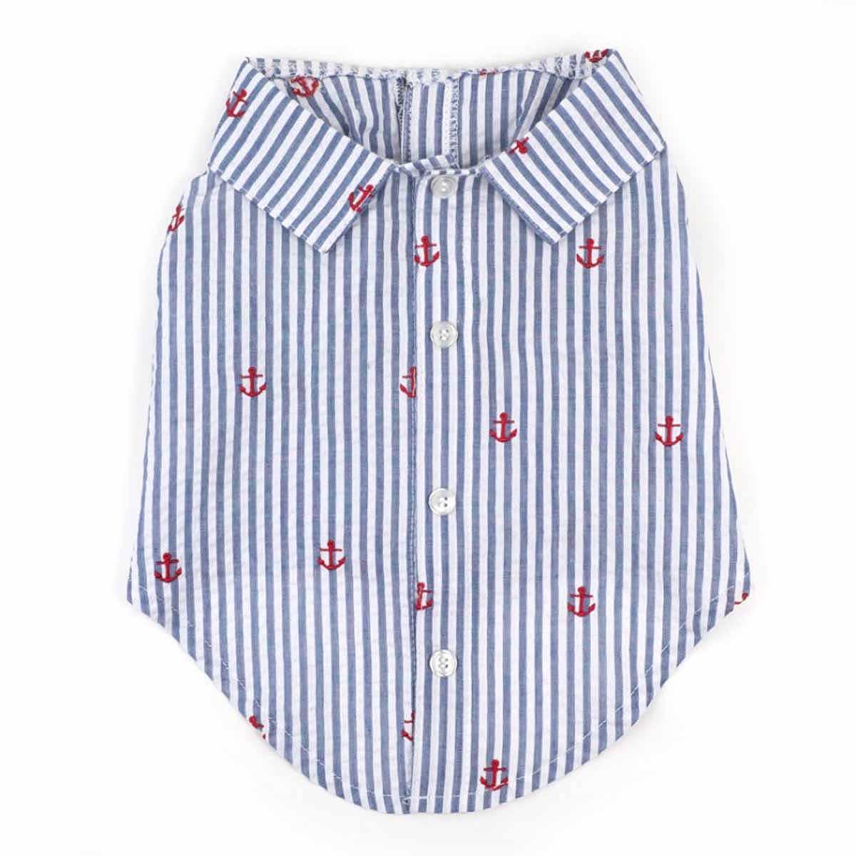 Worthy Dog Navy Stripe Anchor Dog Shirt