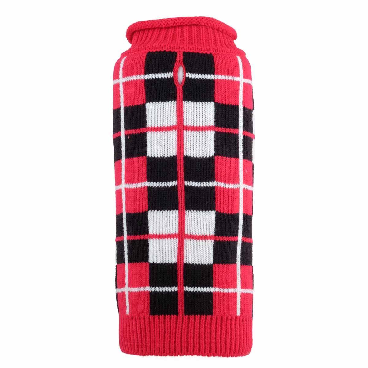 Worthy Dog Oxford Plaid Dog Sweater - Red