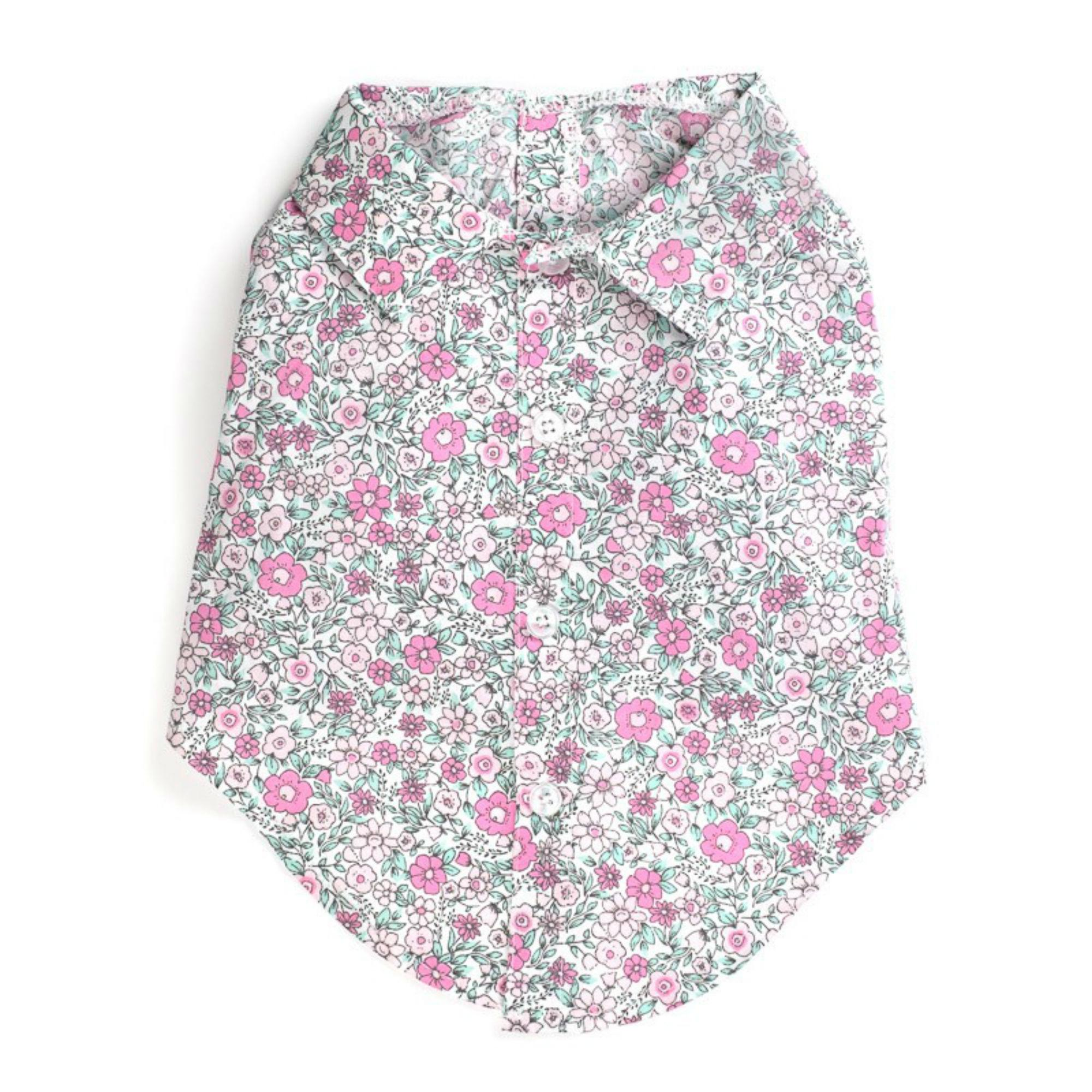 Worthy Dog Pink Floral Dog Shirt