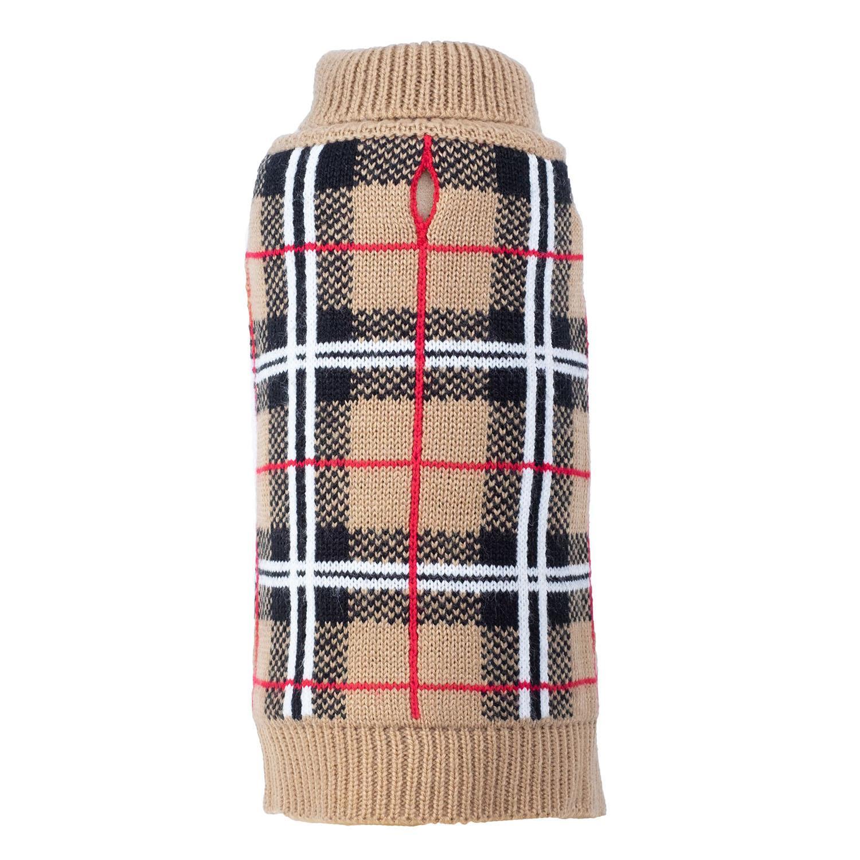 Worthy Dog Plaid Dog Sweater - Tan