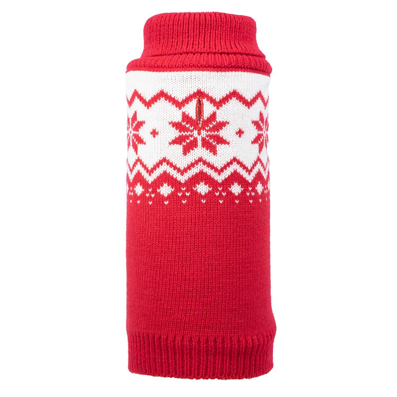 Worthy Dog Fairisle Snowflake Dog Sweater - Red