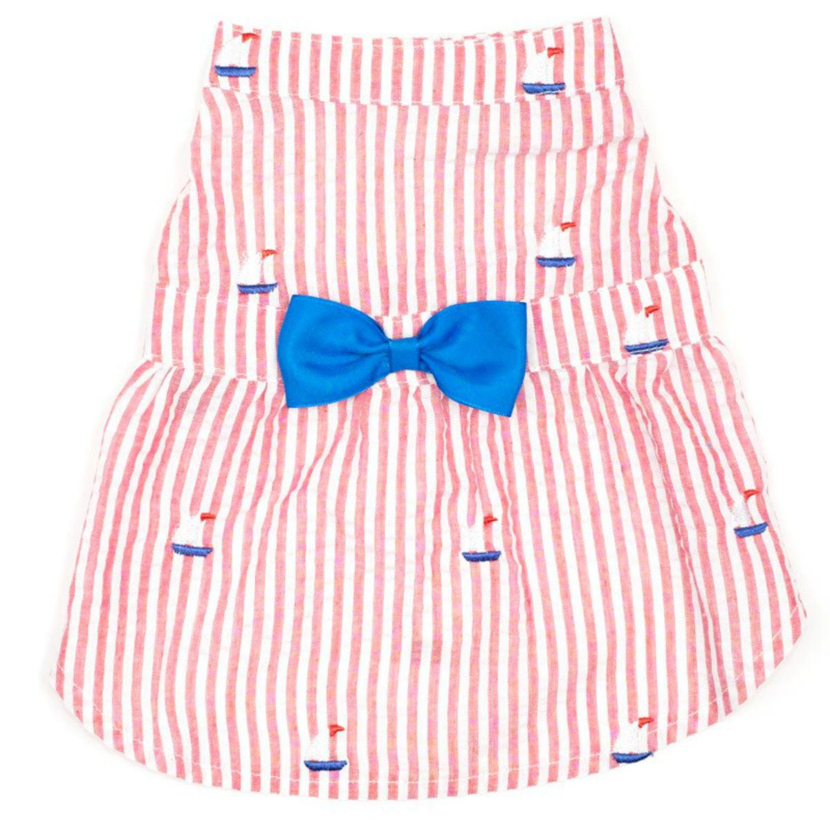 Worthy Dog Red Stripe Sailboat Dog Dress