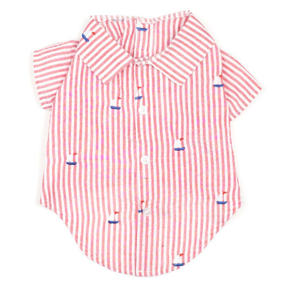 Worthy Dog Red Stripe Sailboat Dog Shirt