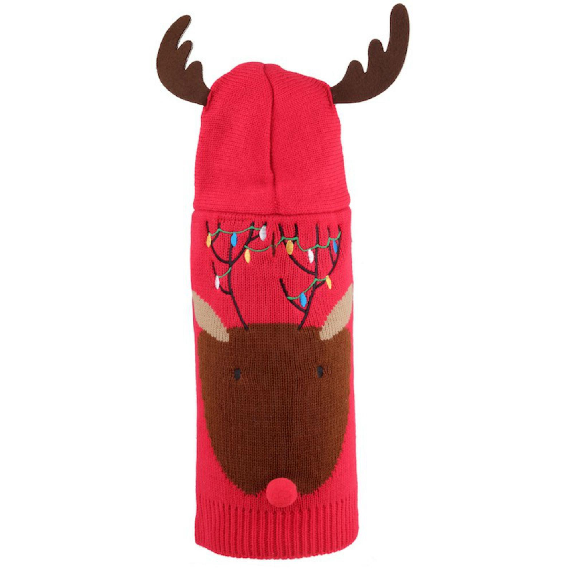 Worthy Dog Rudy Reindeer Dog Hoodie - Red