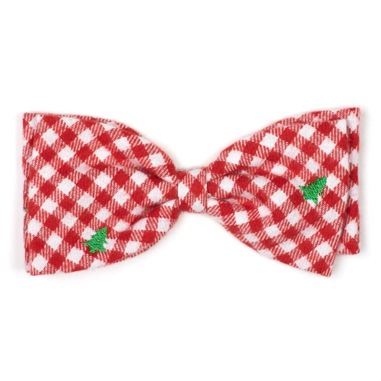 Worthy Dog Trees Flannel Check Dog and Cat Bow Tie Collar Attachment