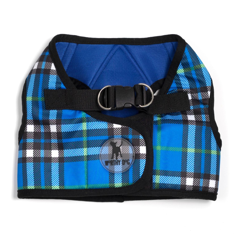 Worthy Dog Sidekick Plaid Printed Dog Harness - Blue