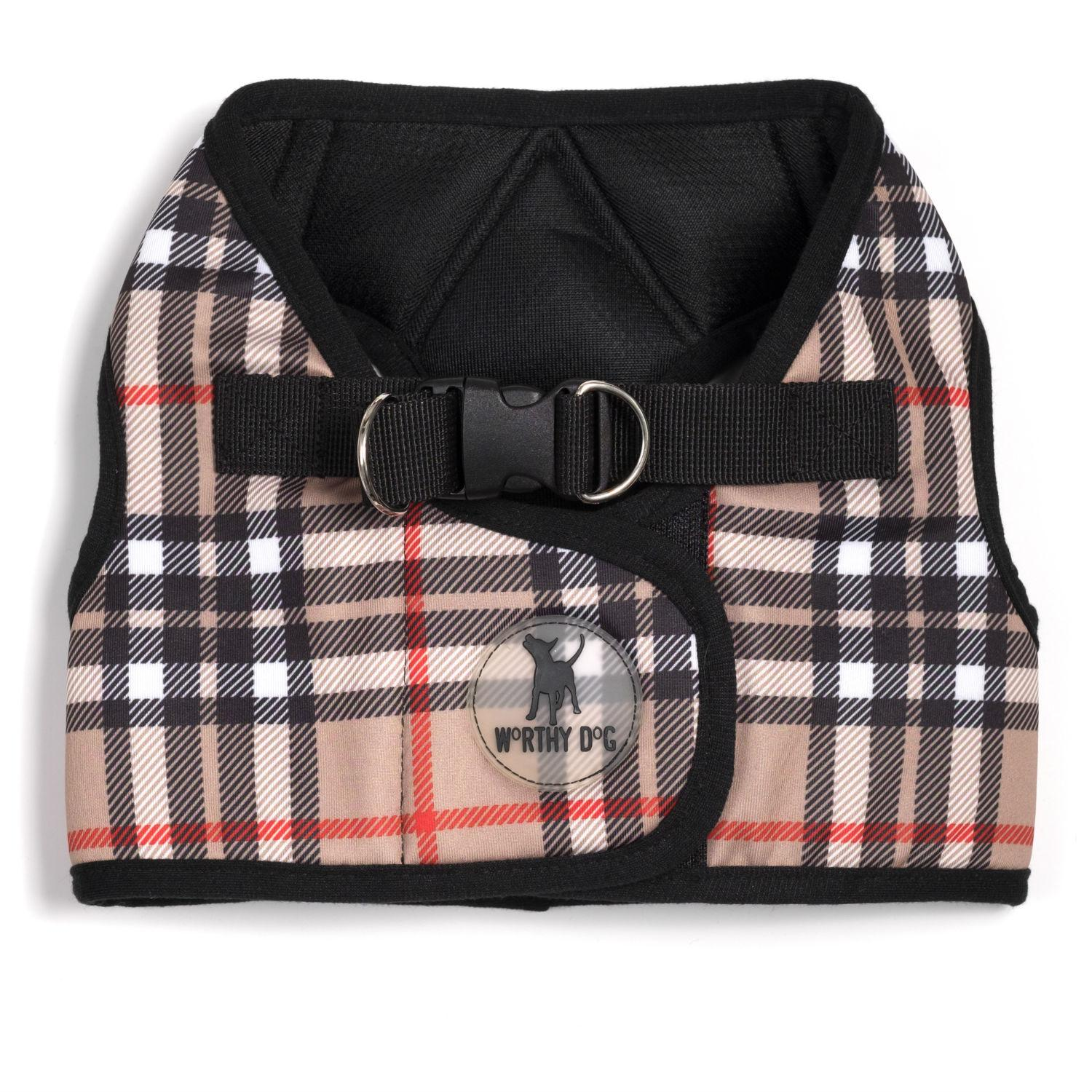 Worthy Dog Sidekick Plaid Printed Dog Harness - Tan