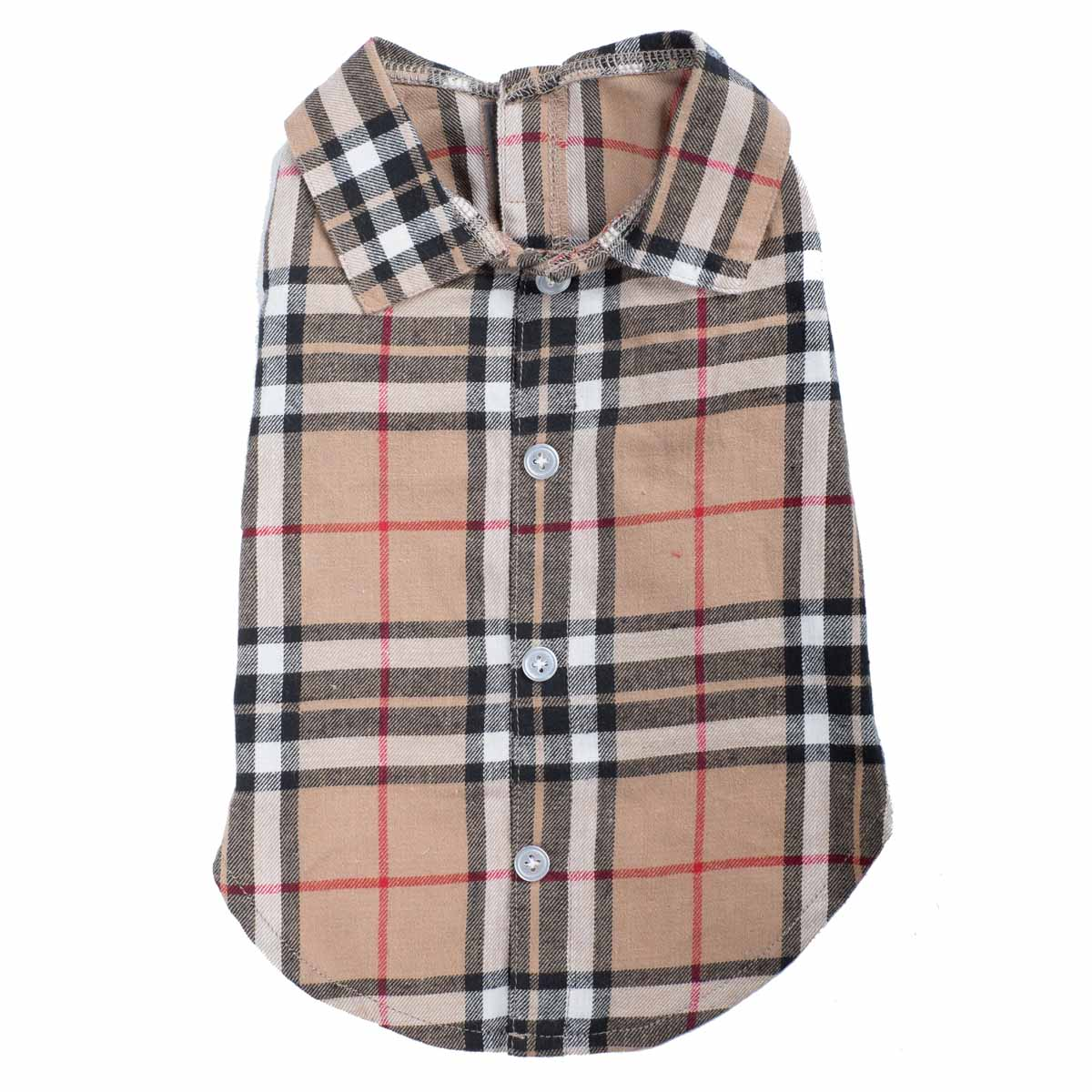 Worthy Dog Tan Plaid Dog Shirt Baxterboo