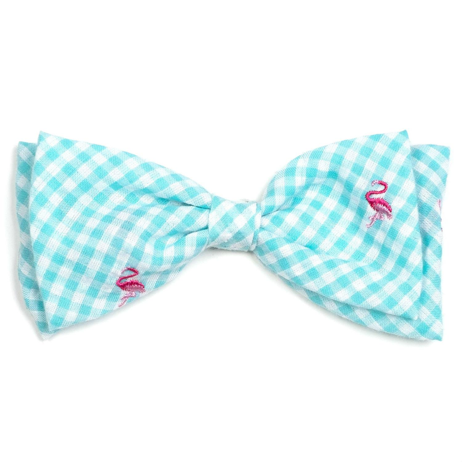 Worthy Dog Gingham Flamingos Dog and Cat Bow Tie Collar Attachment