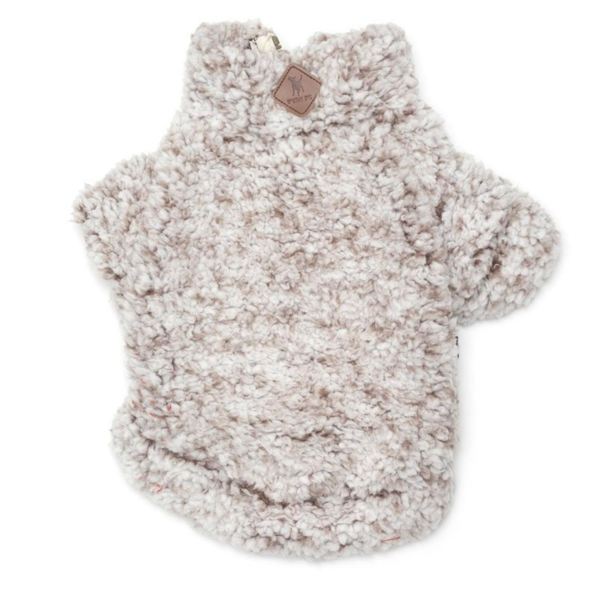 Worthy Dog Wubby Fleece Quarter Zip Dog Pullover - Ivory