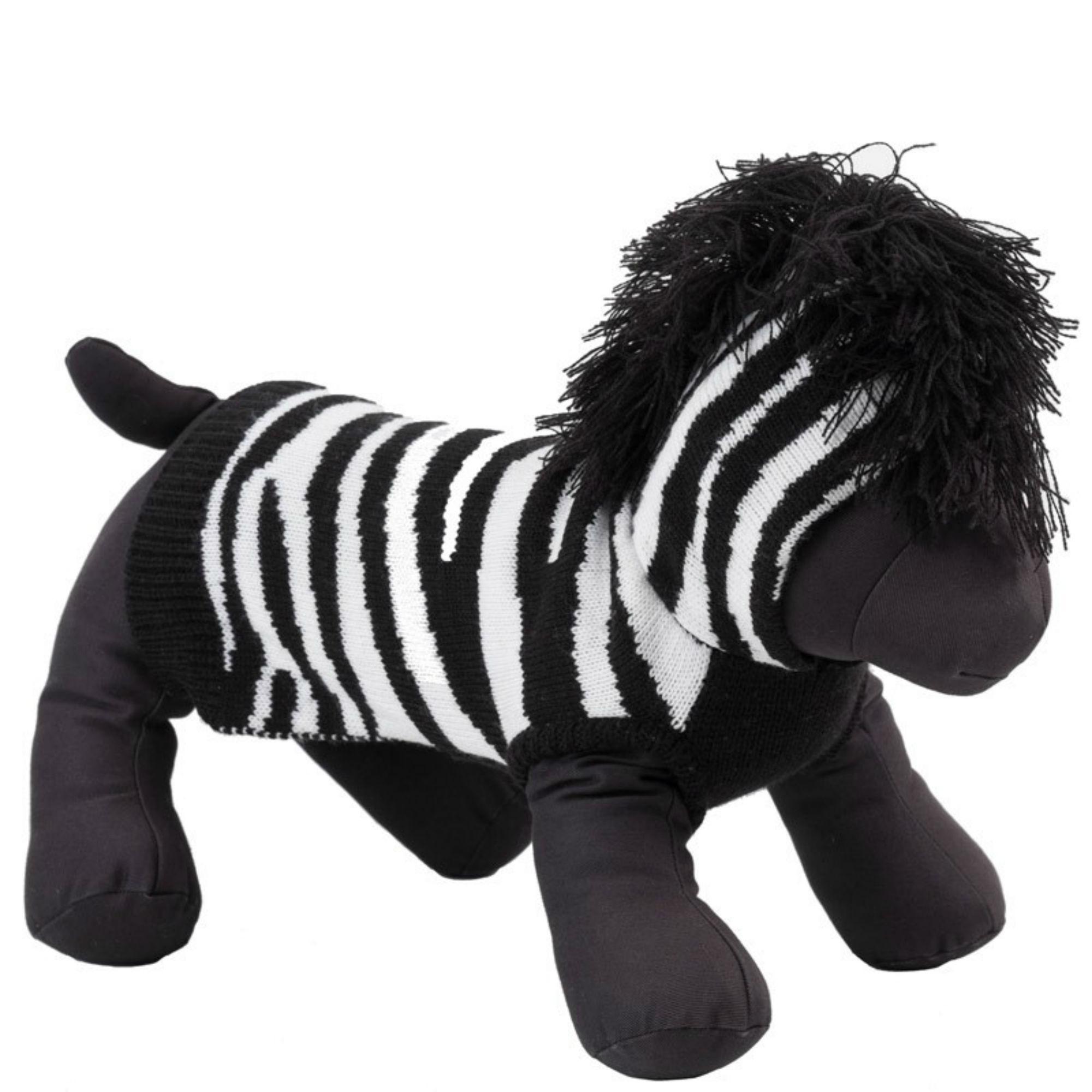 Worthy Dog Zebra Dog Hoodie - Black/White