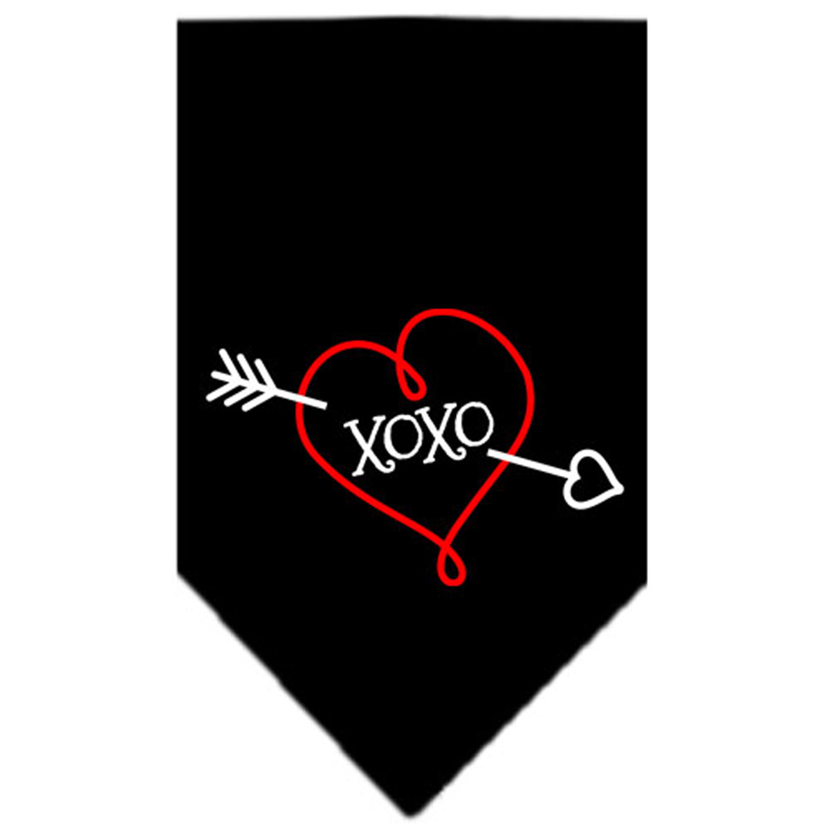 XOXO Screen Print Dog Bandana - Black