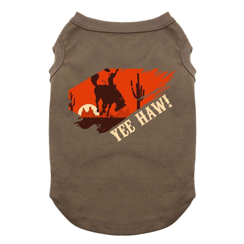 Yee Haw Dog Shirt - Brown