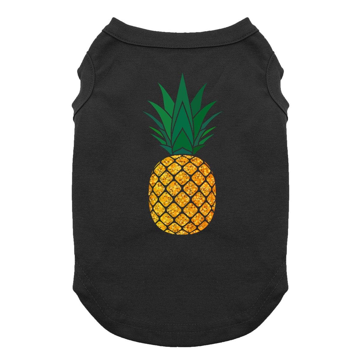 Glitter Pineapple Dog Shirt - Black