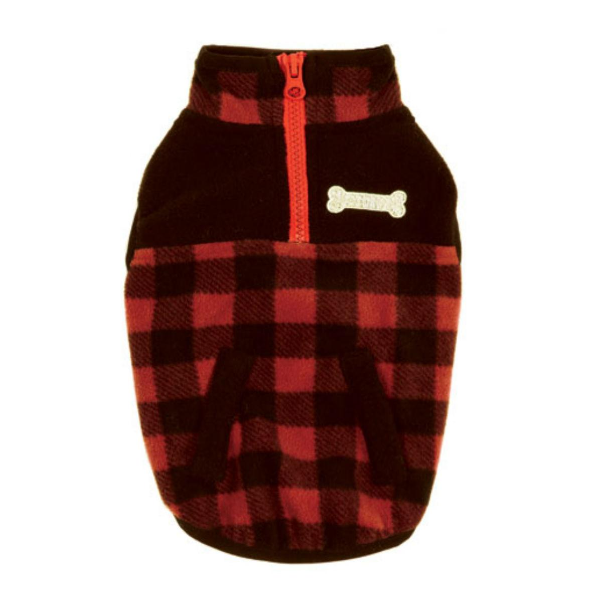Zack & Zoey Buffalo Plaid Fleece Dog Jacket - Red