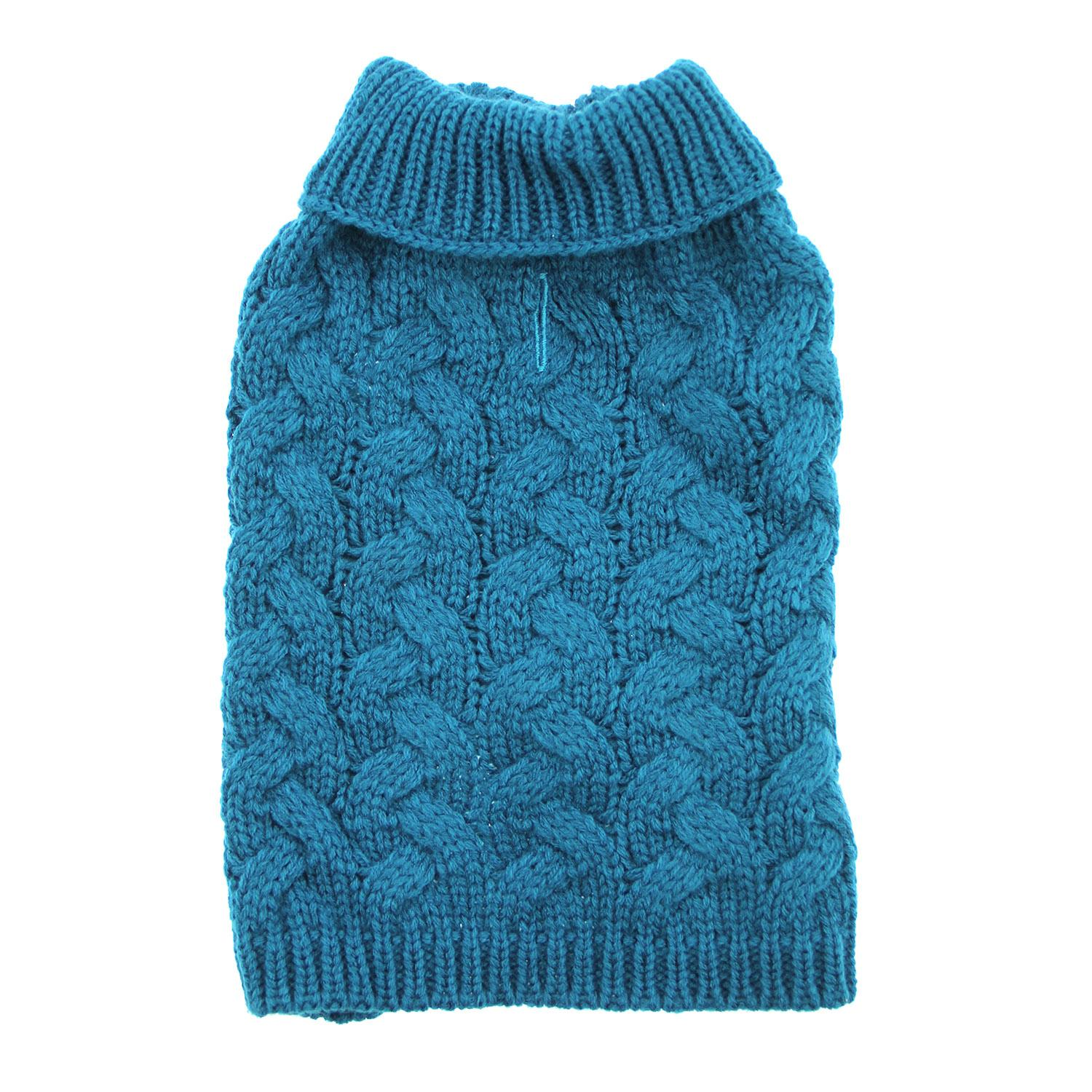 Zack and Zoey Elements Chunky Cable-Knit Dog Sweater - Teal Blue ...