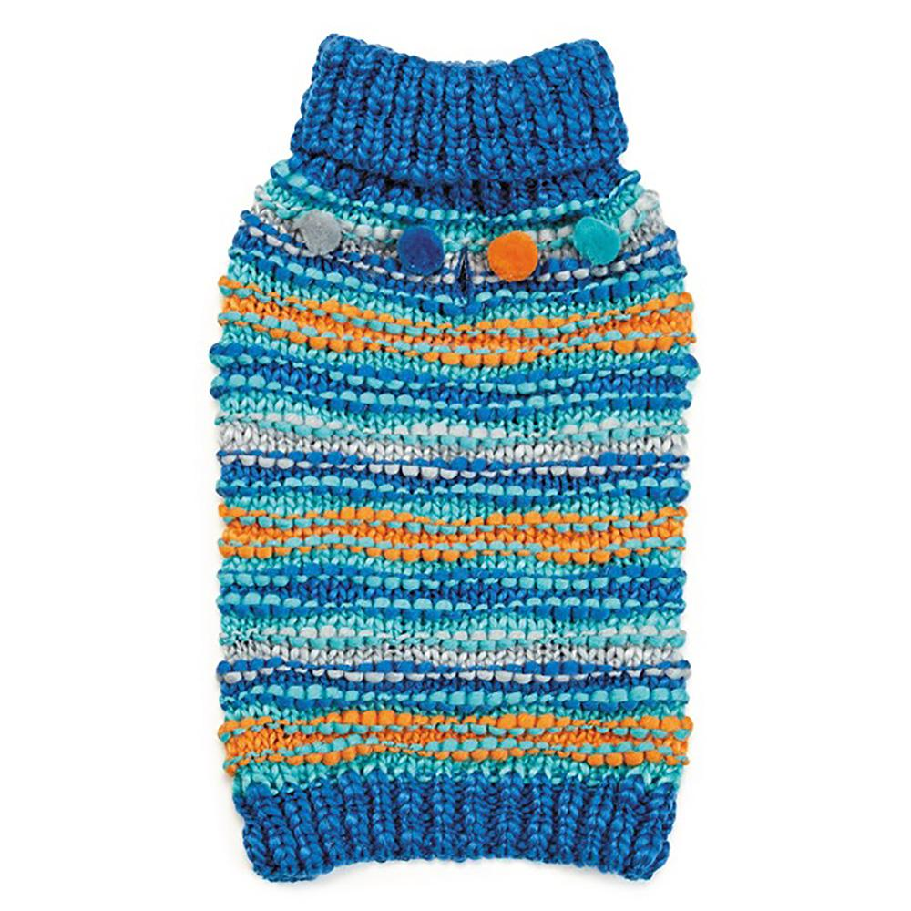 Zack and Zoey Elements Chunky Pom-Pom Dog Sweater - Blue