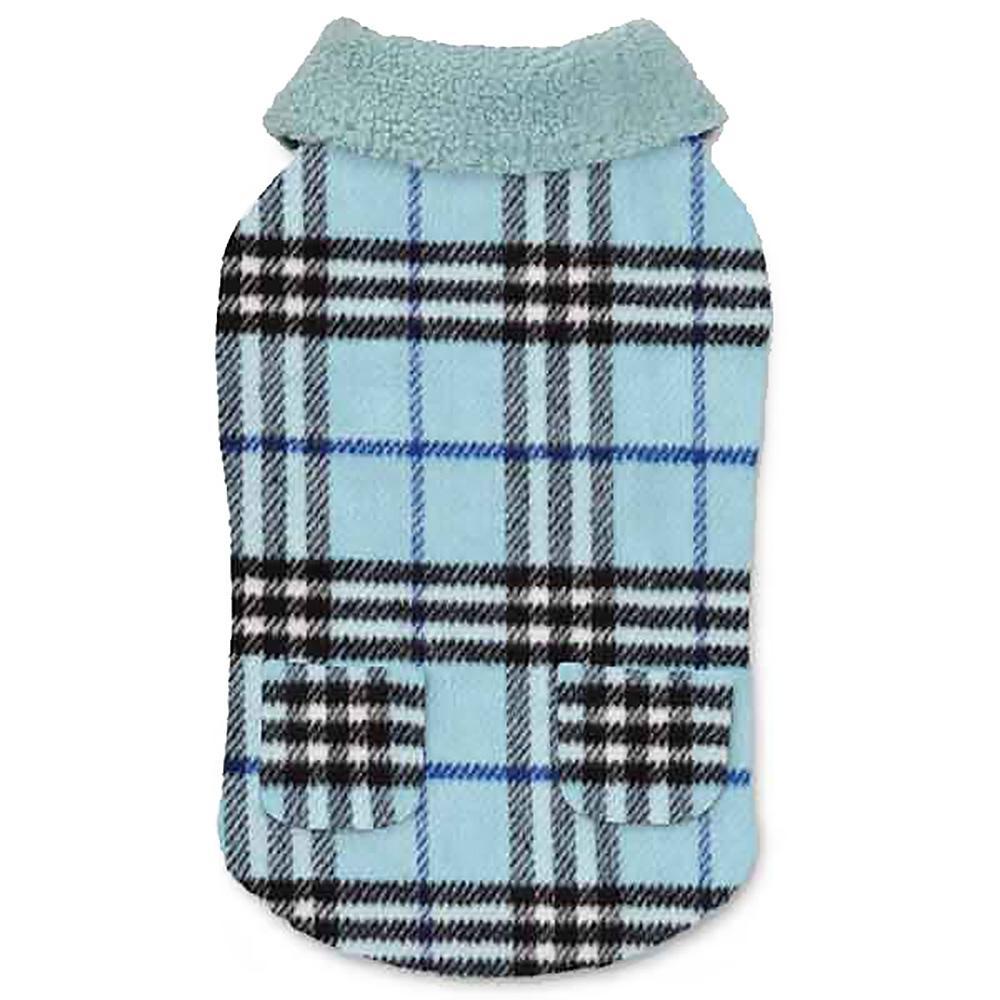 Zack and Zoey Elements Cuddle Plaid Dog Coat - Blue