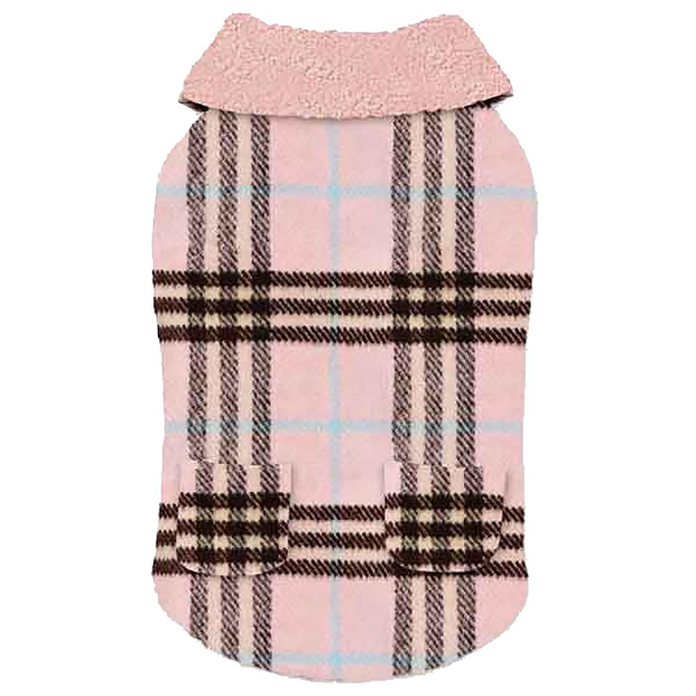 Zack and Zoey Elements Cuddle Plaid Dog Coat - Pink