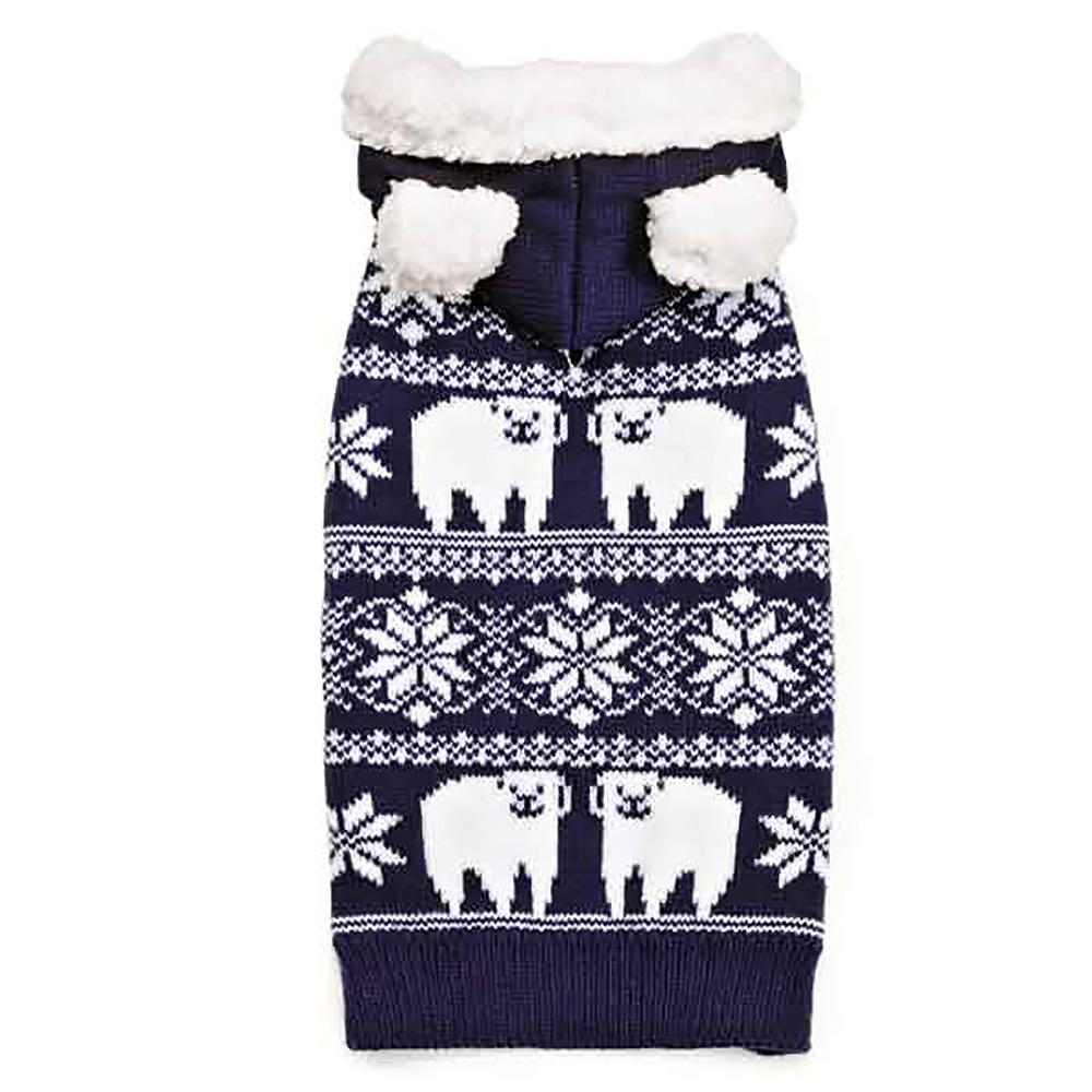 Zack and Zoey Elements Polar Bear Hooded Dog Sweater