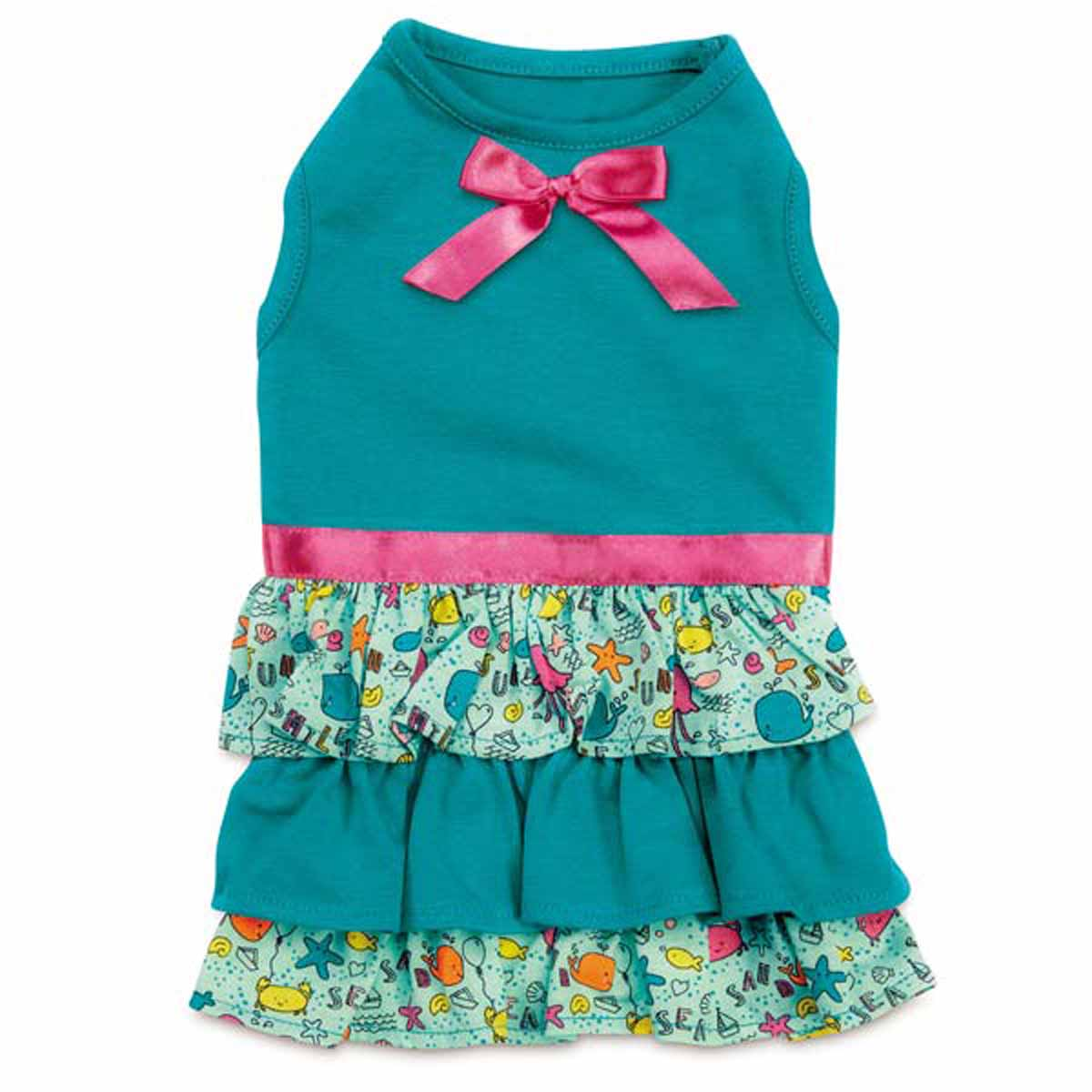 Zack and Zoey Sun and Sea Ruffle Dog Dress with UPF 40