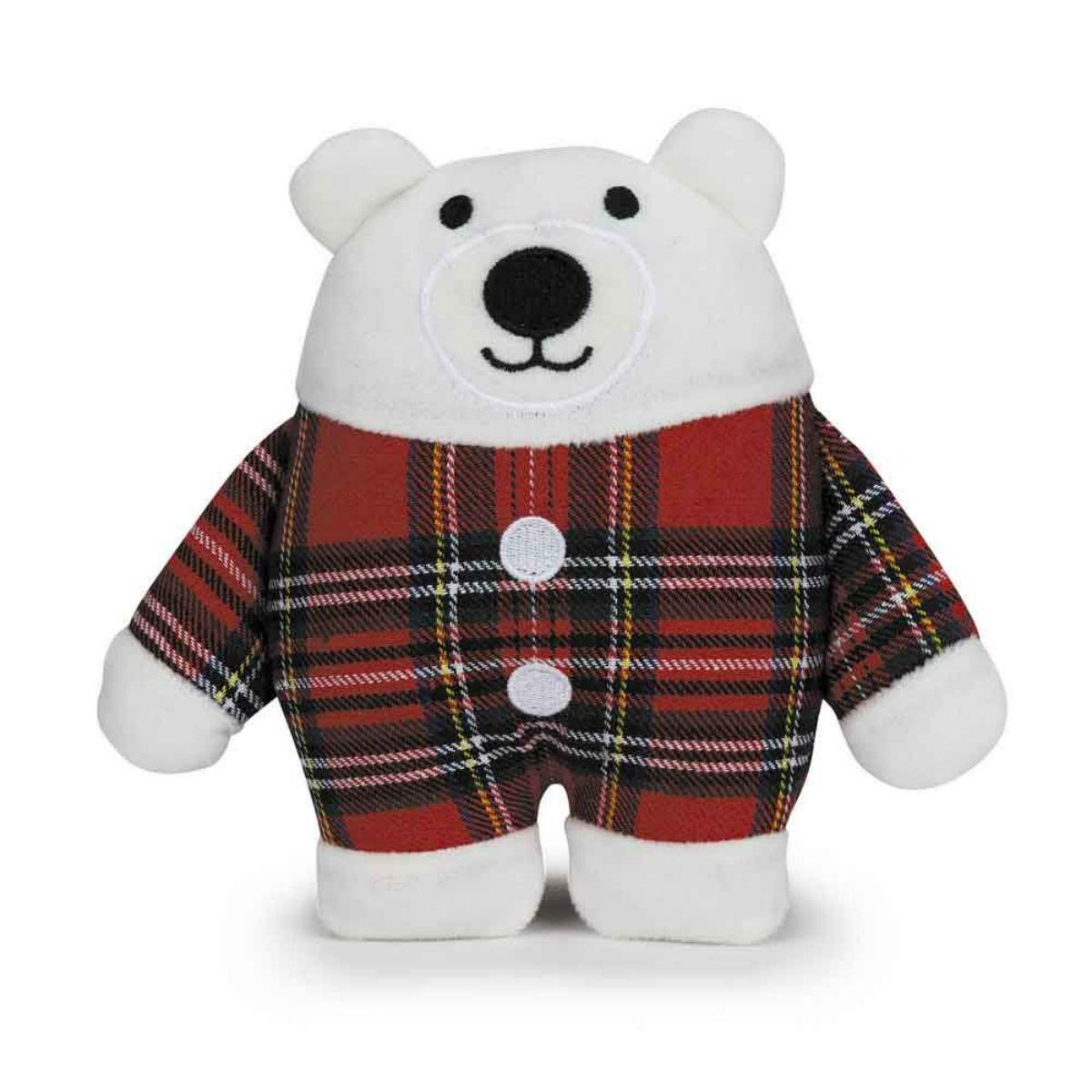 Zanies Holiday Tartan Friend Dog Toy - Polar Bear
