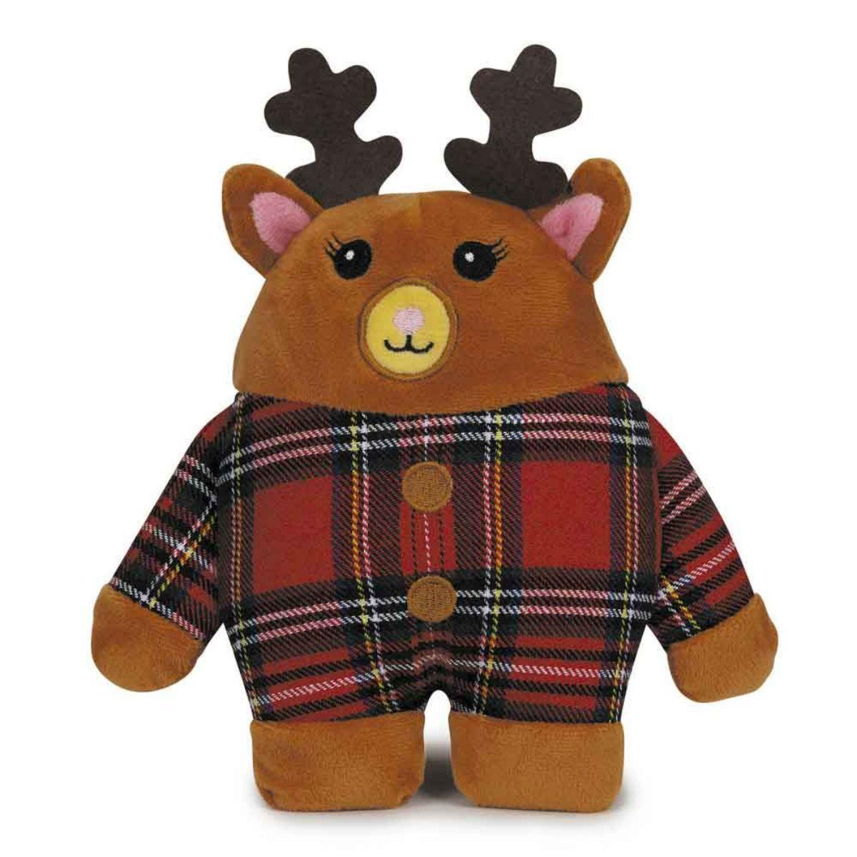 Zanies Holiday Tartan Friend Dog Toy - Reindeer