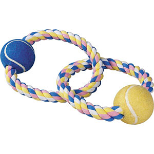 Zanies Pastel Rope Dog Toy with Two Tennis Balls