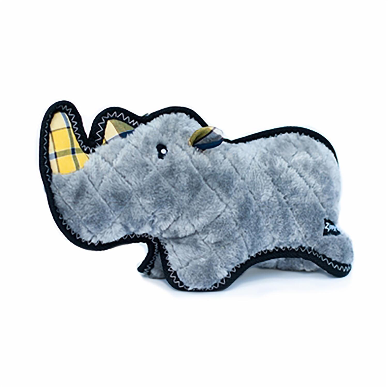 ZippyPaws Grunterz with Z-Stitch Dog Toy - Ronny the Black Rhino