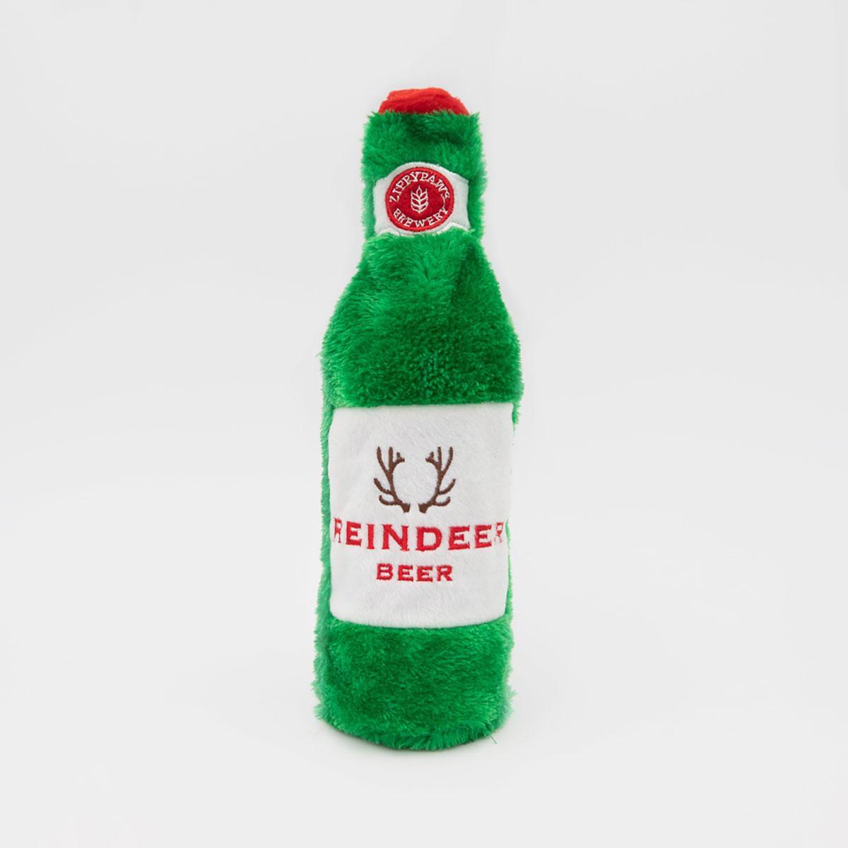 ZippyPaws Holiday Happy Hour Crusherz  Dog Toy - Reindeer Beer