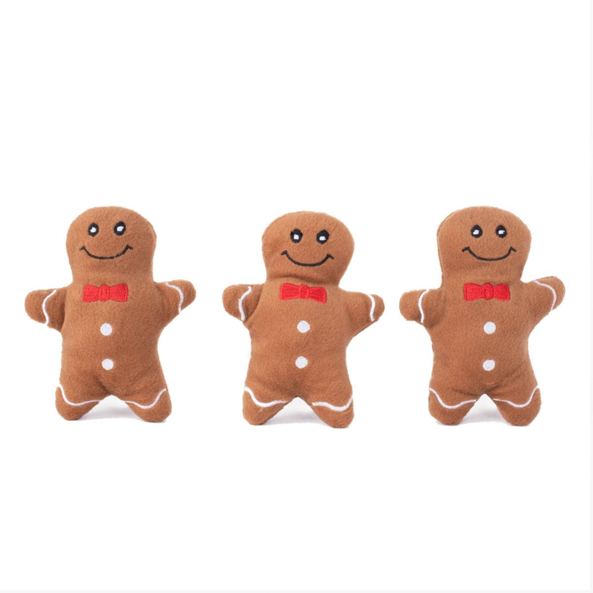 ZippyPaws Holiday Miniz Dog Toys - Gingerbread Men