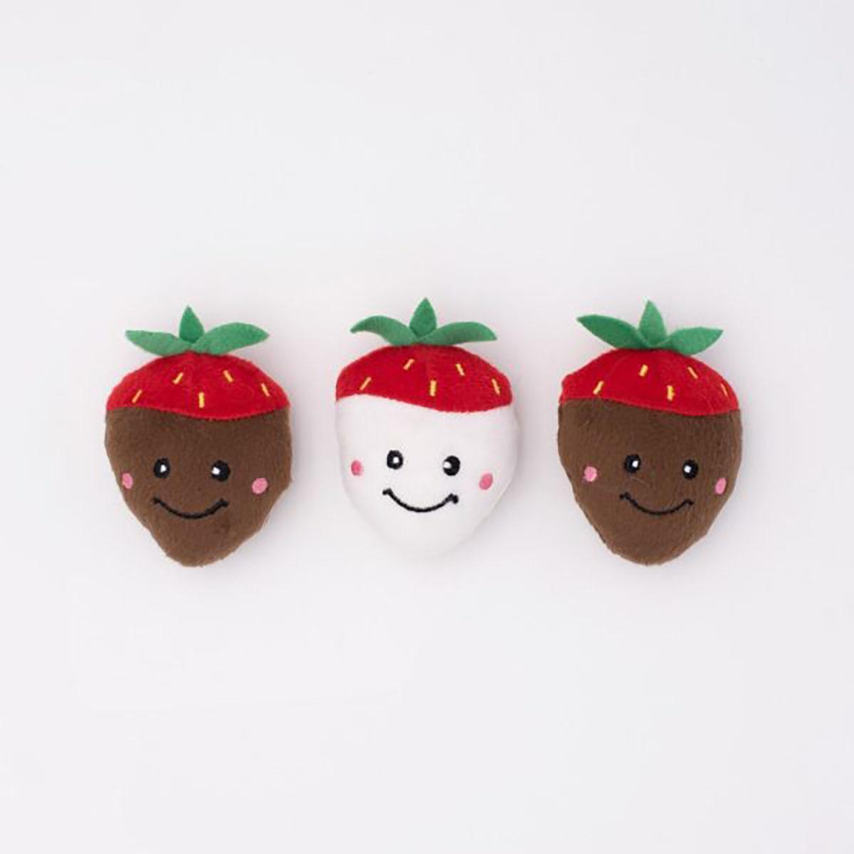 ZippyPaws Valentine's Miniz Dog Toys - Chocolate Covered Strawberries