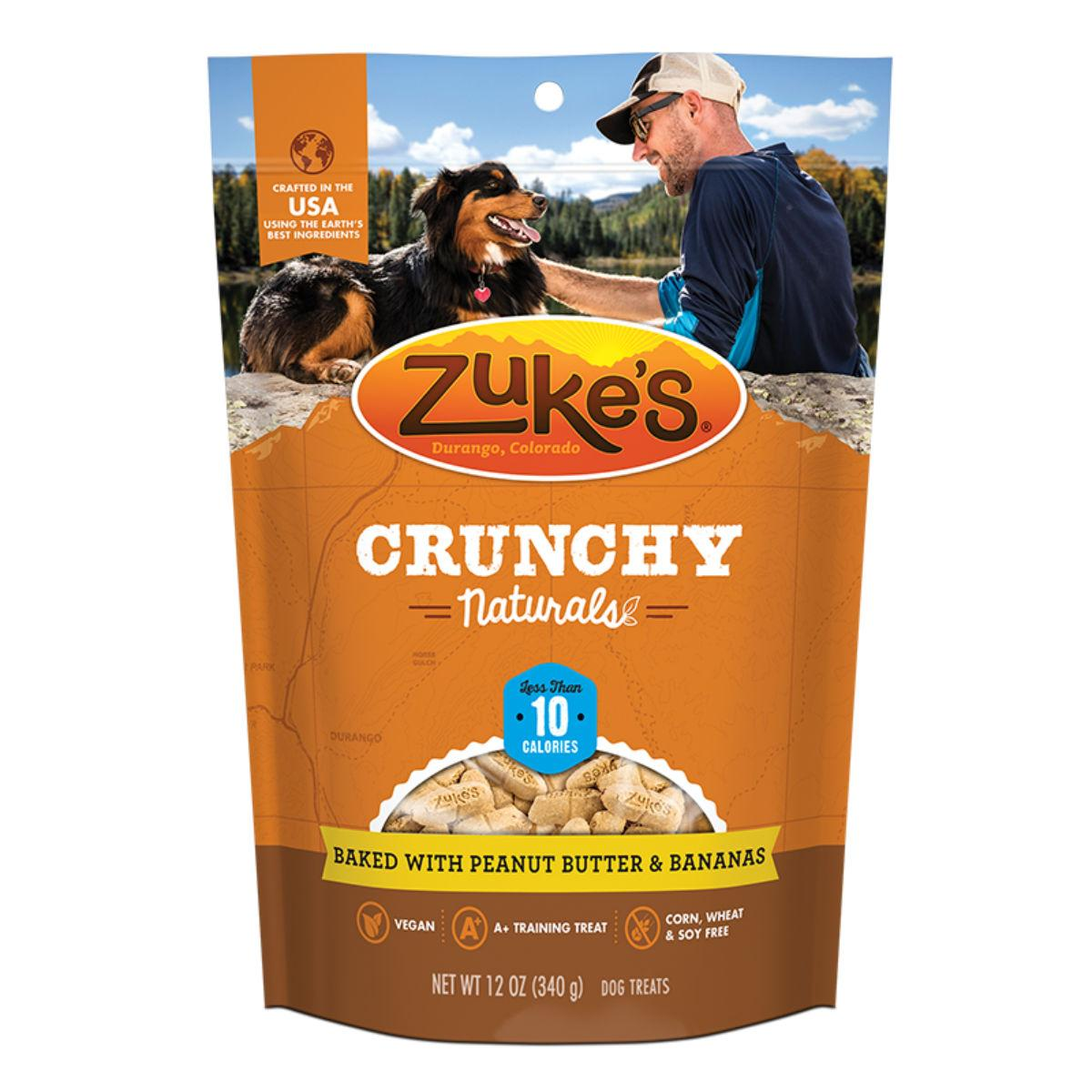 Zukes Crunchy Naturals Dog Treats - Peanut Butter and Bananas