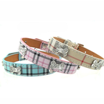View Image 1 of Plaid Dog Collar by Parisian Pet - Pink