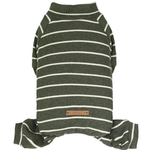 View Image 1 of Dobaz Olive Striped Dog Jumpsuit