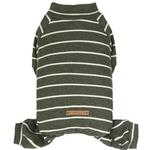 View Image 2 of Dobaz Olive Striped Dog Jumpsuit