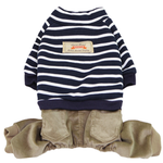 View Image 1 of Striped Top with Corduroy Pants Dog Jumpsuit - Navy