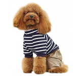 View Image 2 of Striped Top with Corduroy Pants Dog Jumpsuit - Navy