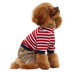 View Image 2 of Striped Top with Corduroy Pants Dog Jumpsuit - Red