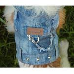 View Image 2 of Denim Patch Dog Harness Vest by Cloak & Dawggie