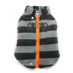 View Image 1 of Active Fleece D-Ring Striped Dog Coat by Dogo - Gray