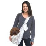 View Image 1 of Fur Baby Adjustable Sling Bag Dog Carrier - Frosted Snow Leopard
