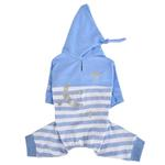View Image 1 of Aerglo Hooded Dog Jumpsuit by Pinkaholic - Melange Blue