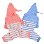 View Image 4 of Aerglo Hooded Dog Jumpsuit by Pinkaholic - Melange Blue