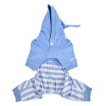 View Image 2 of Aerglo Hooded Dog Jumpsuit by Pinkaholic - Melange Blue