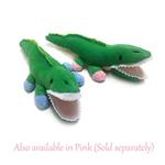 View Image 2 of Alligator Safari Baby Pipsqueak Dog Toy By Oscar Newman - Blue