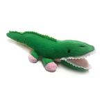 View Image 1 of Alligator Safari Baby Pipsqueak Dog Toy By Oscar Newman - Pink